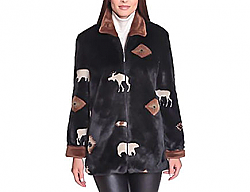 New Black Mountain Moose & Bears Faux Fur Fleece Jacket with Satin Lining (Sm-Lg)
