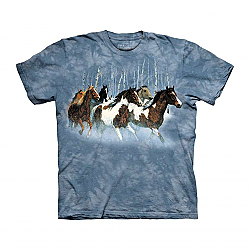 The Mountain Winter Run Short Sleeve Horse Print T-Shirt (Sm - 3x)