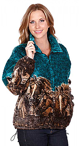 Horses Turquoise Plush Fleece Jacket Adult (3X, 4X)