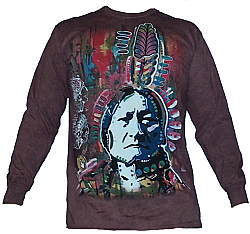 The Mountain Sitting Bull by Dean Russo Native American Long Sleeve T-Shirt (Med, 3x)