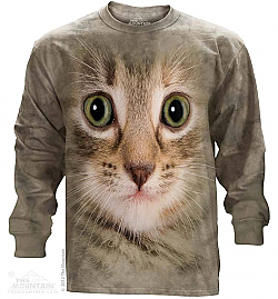 The Mountain Kitten Face Long Sleeve Cat T-Shirt (Sm - 4X)