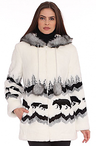 Black Mountain Bear Crossing Faux Fur Hooded Coat with full satin lining fleece jacket (Sm - 2x)