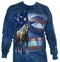 The Mountain Wild Star Flag Horse Eagle Wolf American Flag Patriotic Long Sleeve Shirt (Med - 3x)