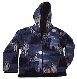 Kids Blue Wolf Hooded Reversible Fleece Jacket with Wolves Child & Junior Sizes