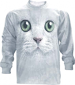 The Mountain Green Eyes Kitten Face Long Sleeve Cat T-Shirt (Med - 5X)