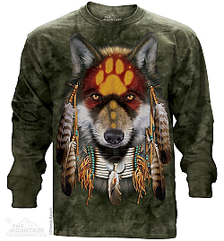 "The Mountain ""Native Wolf Spirit"" Long Sleeve Native American T-Shirt (2X)"