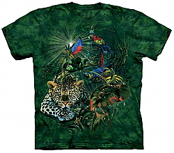 New The Mountain Rainforest Gathering Jaguar Parrot Frog Butterfly T-Shirt  (Lg , XL)