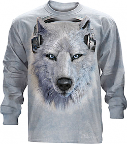 The Mountain White Wolf DJ Long Sleeve Tee Shirt (Lg - 5X)