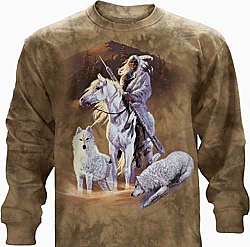 "The Mountain ""Companions of Hunt"" Native American Wolf Horse Long Sleeve T-Shirt (SM)"