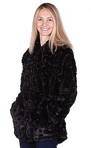 Andrea Faye Seville Hooded Adult Boa Jacket (XS-2X)