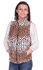 Cheetah Looped Wool Fleece Cinchbach Leopard Print Vest