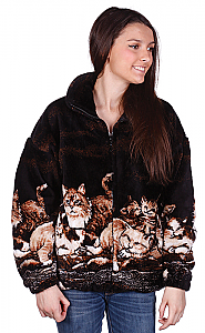 Nights Meow Adult Plush Fleece Cat Kitten Jacket (XS - 5X)