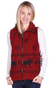 Clearance Sale Moose Snowflakes Looped Wool Fleece Cinchbach Vest