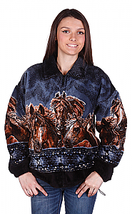 Horse Gathering Plush Fleece Jacket Adult (5X)