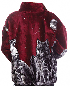 Shooting Stars Burgundy Plush Fleece Wolf Jacket Adult (XS - 3X)
