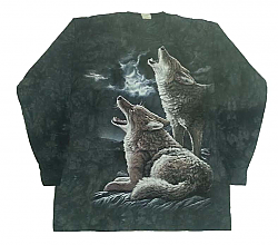 "The Mountain ""Howling Wolves Moon"" Wolf Long Sleeve T-Shirt  (Med, Lg)"