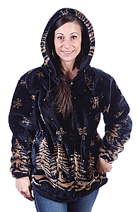 Twilight Snowflakes Plush Fleece Jacket with Hood (XL)