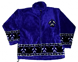 Thunderbird Purple Native American Plush Fleece Jacket Adult (XS, Sm)