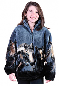 Denim Night Horses Plush Fleece Jacket Junior Size