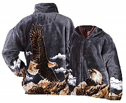 Bald Eagle Gray Plush Fleece Jacket Adult (Sm)