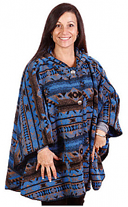 Bear Ridge Pueblo Ladies Washable Looped Wool Aztek Hooded Cape / Poncho