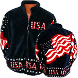 Stars and Stripes USA Flag Plush Fleece Jacket Adult (Sm - 2X)