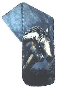 Denim Night Horses Plush Fleece Scarf