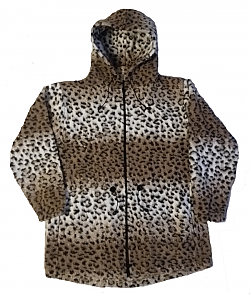Clearance Sale Leopard Looped Wool / Fleece Cheetah Hooded Jacket Adult (Sm - 3X)