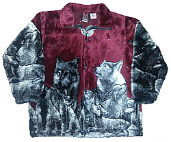 Wolves Burgundy Plush Fleece Jacket Kids & Junior Size
