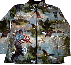 Reversible Polar Fleece Patriotic Bald Eagle Flag Jacket (Md, Lg, Xl)