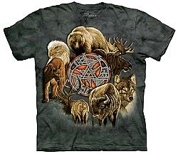 Animal Spirit Shield Eagle Wolf Moose Elk Buffalo Mountain Lion T-Shirt The Mountain