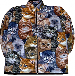 Reversible Polar Fleece All Over Cats Kittens Jacket (Sm - 3X)