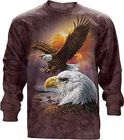 The Mountain Eagle and Clouds Long Sleeve Shirt Bald Eagle TShirt  (Sm)