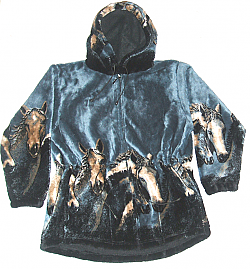 Denim Horses Plush Fleece Hooded Horse Jacket Adult (Xs, Sm)