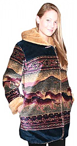 Black Mountain Reversible Sunset Horses Plush Fleece Hooded Jacket Adult (Sm - 3X)