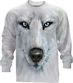The Mountain White Wolf Face Long Sleeve T-Shirt (XL, 4X, 5X)