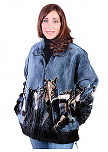 Black Mountain Denim Night Horses Plush Fleece Jacket Adult (XS - 4X)