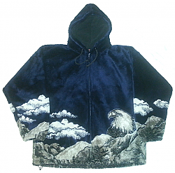 Bald Eagle Hooded Navy Plush Fleece Jacket with Hood Adult (Sm - 2X)