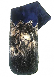 Navy Wolves Plush Fleece Scarf