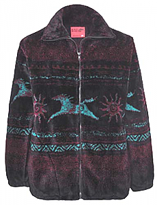 Black Mountain Star Tribal Horses Plush Fleece Jacket Adult (Sm)