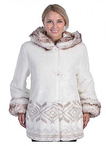 Womens Washable White Faux Fur Hooded Jacket with Full Satin Lining Adult (Sm - 2X)