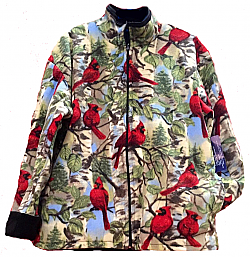 Reversible Polar Fleece Northern Cardinals Jacket (Sm - 2X)
