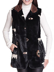 New Black Mountain Moose & Bears Faux Fur Fleece Vest with Satin Lining (Md, Lg)