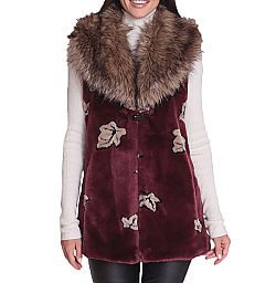 New Black Mountain Leaves Faux Fur Fleece Vest with Satin Lining (Md)