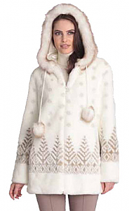 Black Mountain Trees Faux Fur Hooded Coat with full satin lining (2x, 3x)