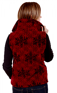 Red Snowflakes Looped Wool Fleece Cinchbach Vest