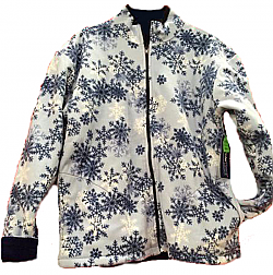 Reversible Polar Fleece Blue Snowflakes Jacket (Sm - 3X)