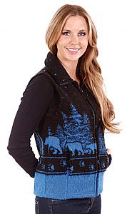 Black Bears Looped Wool Fleece Cinchbach Vest