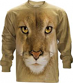 The Mountain Cougar Long Sleeve Mountain Lion Face Puma T-Shirt (2X - 5X)