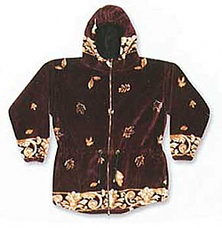Leaves Ultra Plush Fleece Hooded Jacket (Extra Small)